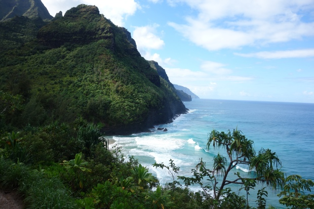 Beautiful view of the Na Pali coast from the Kalalau Trail