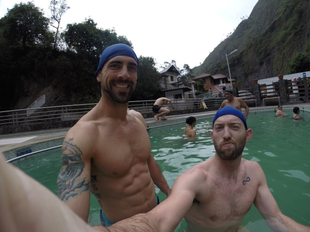 Jason and I getting our soak on in one of the warm baths at El Salado, with our stylish swim caps